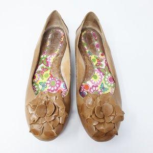 Born Flower Floral Tan Leather Ballet Flats